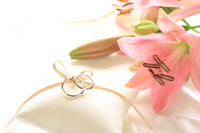 Wedding ring and pink lily Stock photo [1010216] Wedding