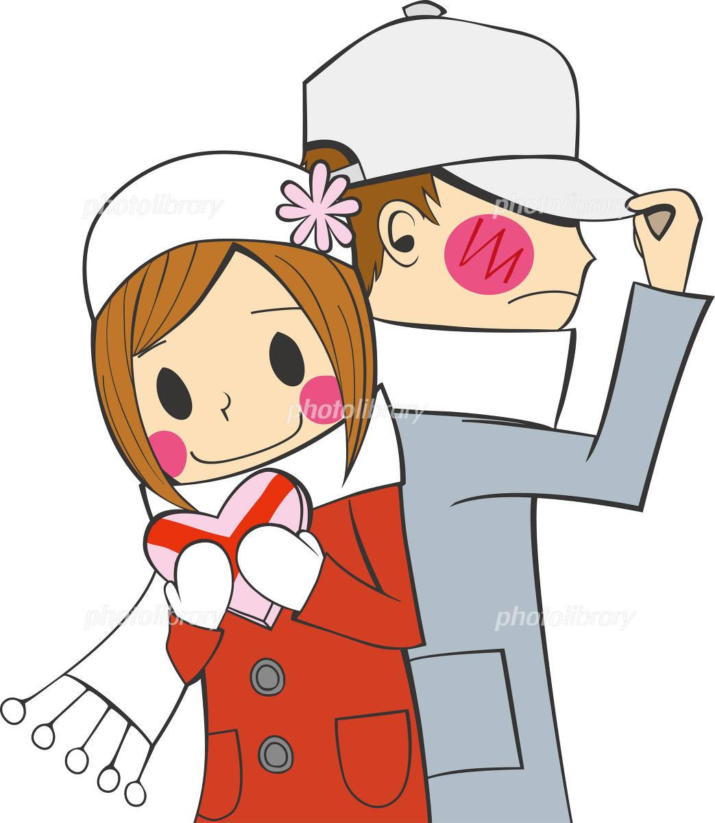 バレンタイン プレゼントを渡す女の子 照れる男の子 イラスト素材