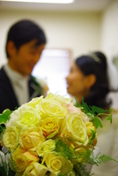 Bouquets of roses and the bride and groom Stock photo [1115557] Wedding