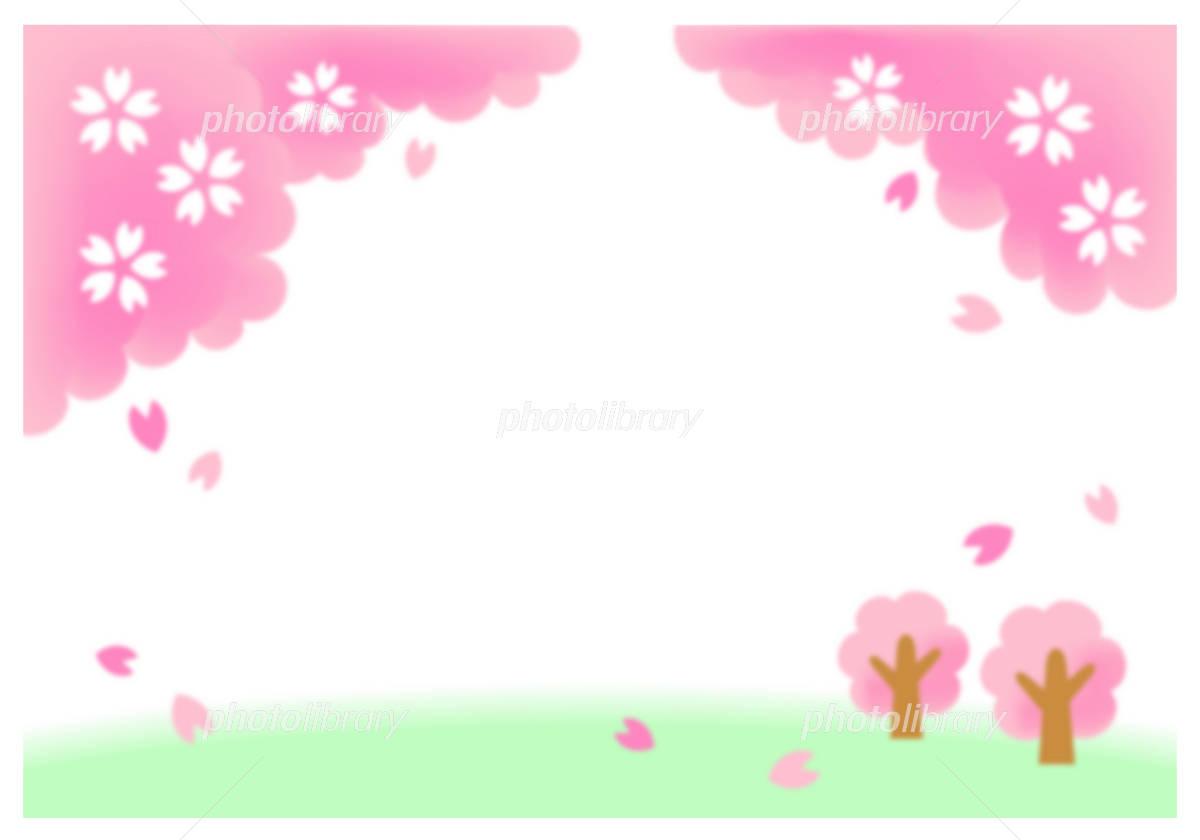 桜の可愛いフレーム イラスト素材 [ 1219810 ] - フォトライブラリー