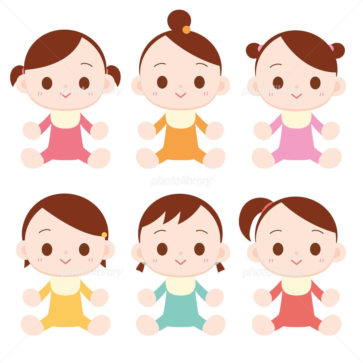 赤ちゃん 女の子 6人 イラスト素材 1225281 フォトライブラリー