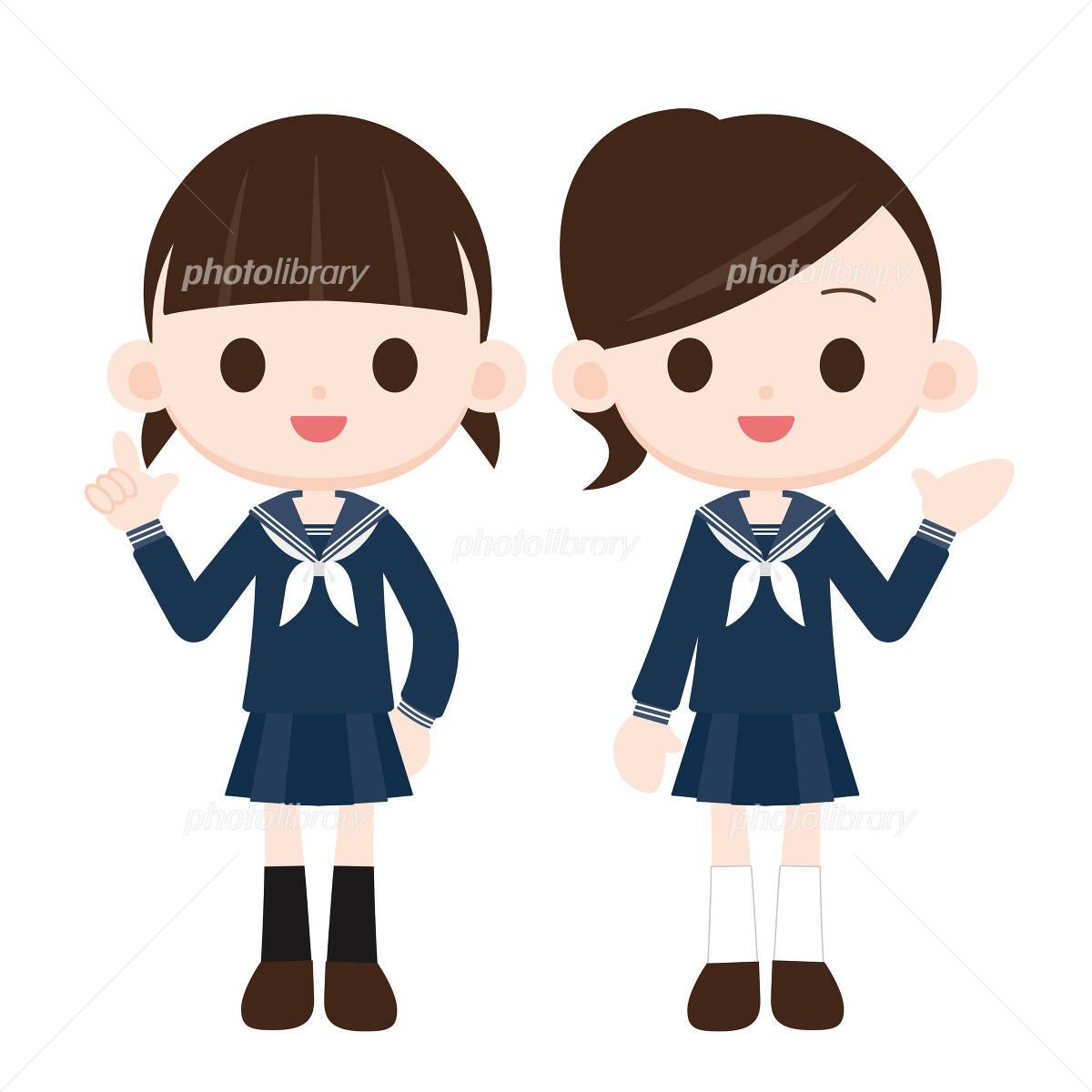 セーラー服の女の子 二人 イラスト素材 1226276 フォトライブ