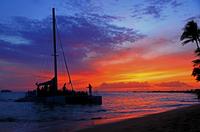 Sunset Beach and catamaran Stock photo [1311379] America