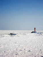Drift ice and red lighthouse Stock photo [1318050] Drift