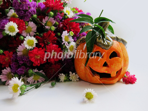 Pumpkin right and bouquet left side screen Photo
