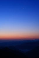 Sky and crescent before dawn as seen from the plateau Stock photo [1601372] Dawn