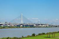 Central Circular Route and Katsushika harp Bridge Stock photo [1607498] Katsushika