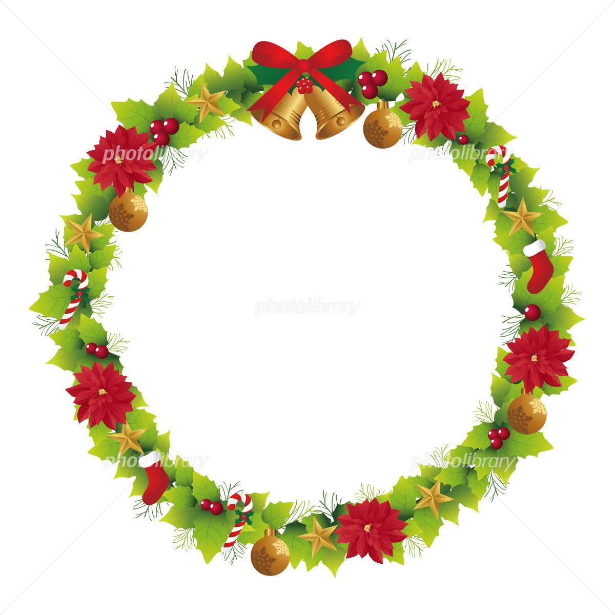 クリスマス リース フレーム イラスト素材 1700181 フォトライブ
