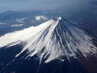 winter of Mount Fuji overlooking stock photo