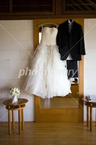 Wedding dress and tuxedo Photo