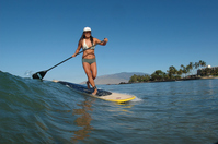 Woman to the stand-up surfing in Hawaii Stock photo [1881135] SUP