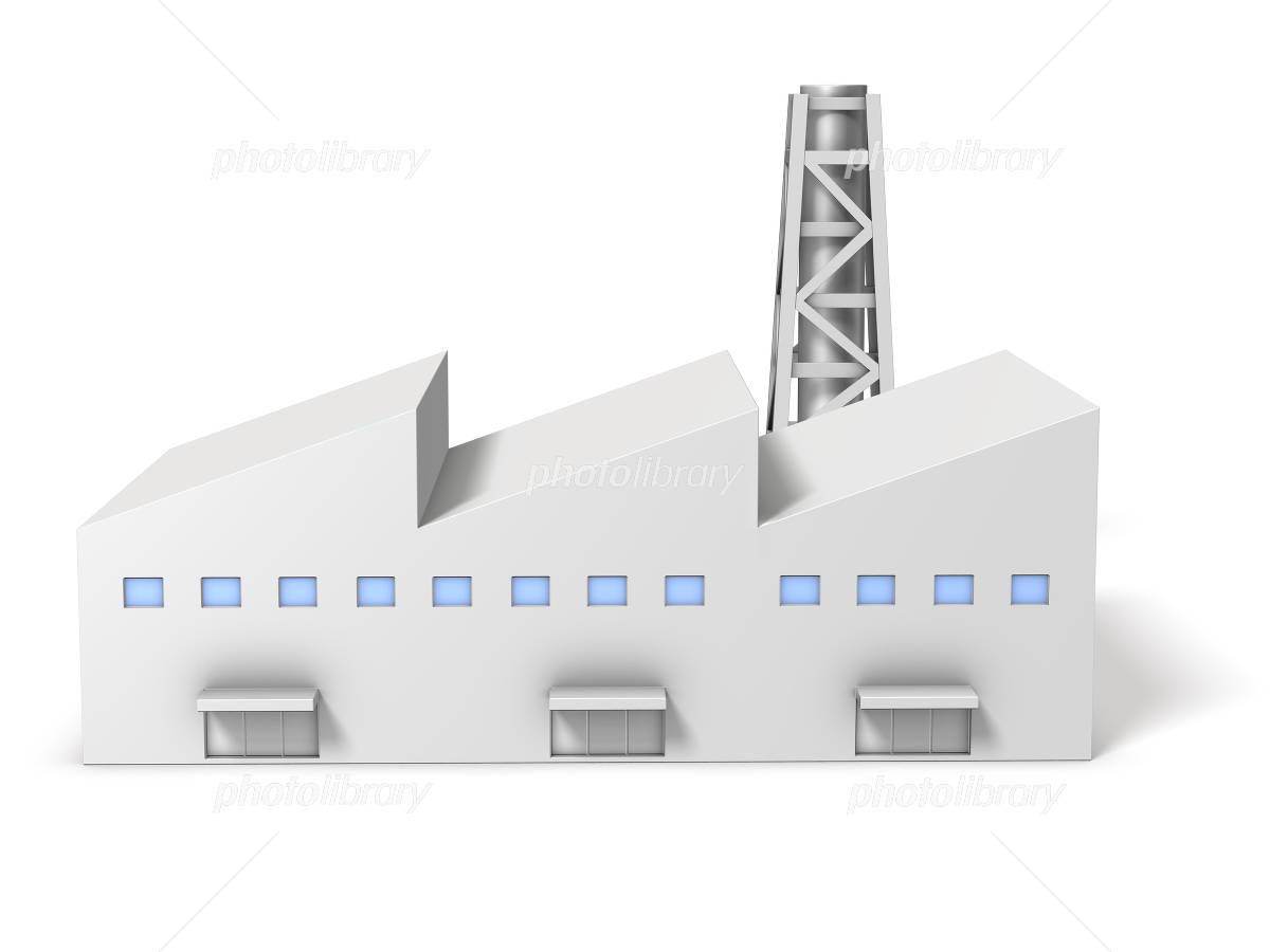 工場のミニチュアを表す3DCGイラストのイラスト素材