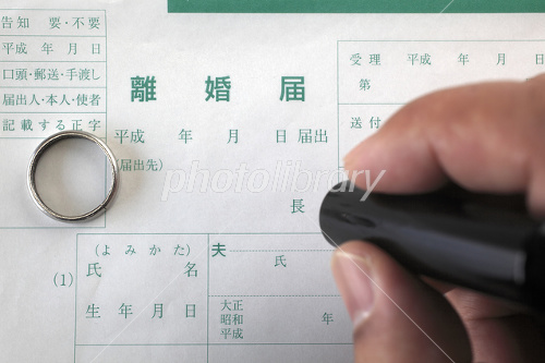 Wedding ring and seal with divorce papers Photo