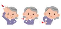 Senior woman headache back pain stiff neck [2101603] Hernia