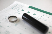 Wedding ring and seal with divorce papers Stock photo [2107144] Divorce