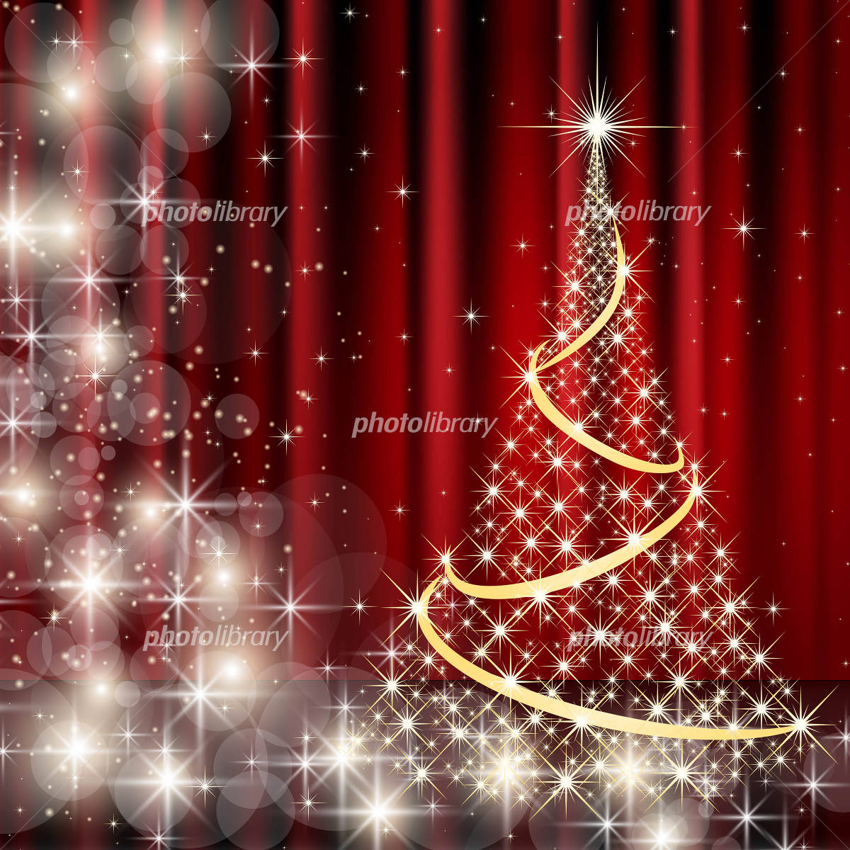 Glowing Christmas tree and red curtain background イラスト素材