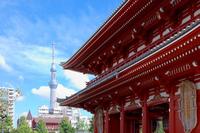 Hōzōmon and Tokyo Sky Tree and blue sky of Sensoji Temple Stock photo [2201566] Landscape