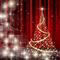 Glowing Christmas tree and red curtain background [2210023] Christmas