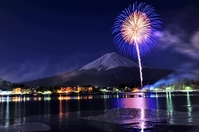Winter fireworks and Mount Fuji stock photo
