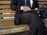 Businessman to operate the tablet terminal Stock photo [2334523] ipad
