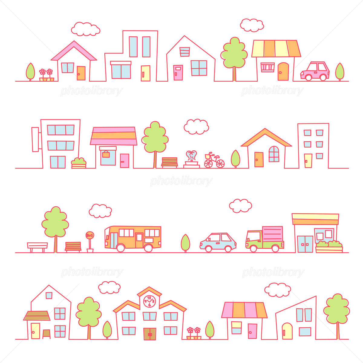 Town pink illustrations イラスト素材
