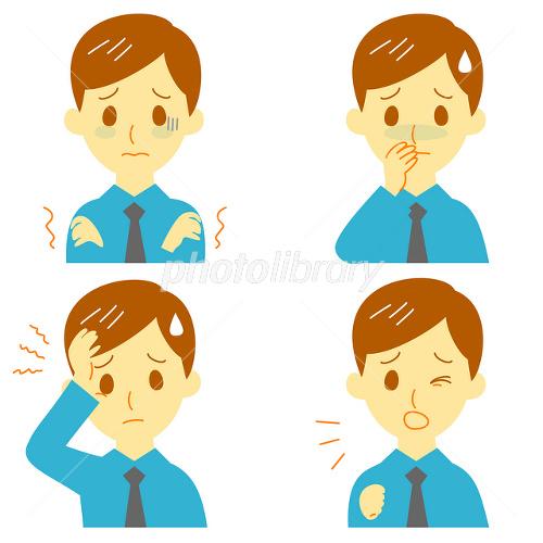 病気の症状(悪寒、吐き気、頭痛、咳)男性