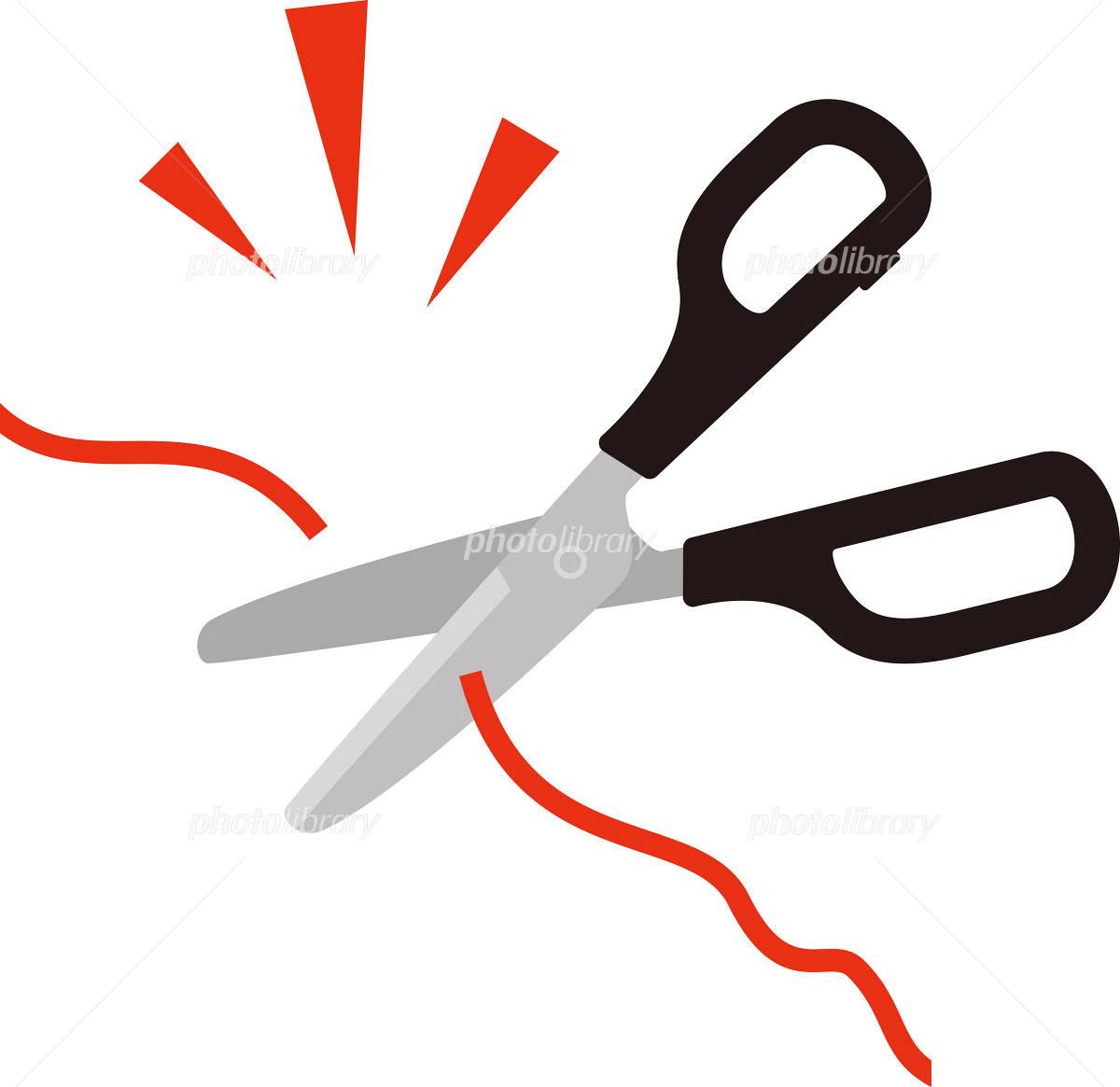 赤い糸を切るハサミ イラスト素材 [ 2583360 ] - フォトライブラリー ...