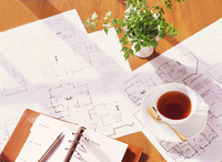 Floor Plan and notebook and cup Stock photo [2684848] Drawing