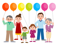 Large family and balloons [2761807] Family