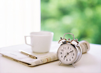 Alarm clock and newspapers and coffee Stock photo [2855204] Newspaper