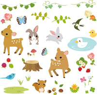Small animals and flowers of the forest stock photo