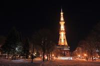 Sapporo Odori Park night scene Stock photo [3018870] Tower