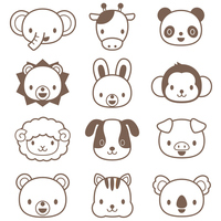 Cute animal illustration set [3022151] Animal