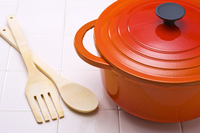 Pot and wooden fork and spoon Stock photo [3022210] Pot