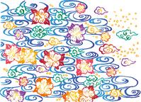 Bingata brush illustrations hand-painted stock photo