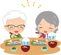 Elderly couple smile to eat [3105152] For