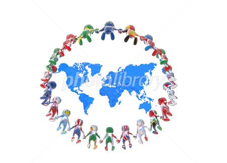 世界地図と繋がる人 イラスト素材 3502234 フォトライブラリー
