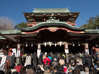 The crowded with Hatsumode Tomioka Hachiman Shrine Stock photo [3495193] Hatsumode