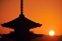 Tower and sunset of Higashiyama of sunset Yasaka Stock photo [3498918] Kyoto