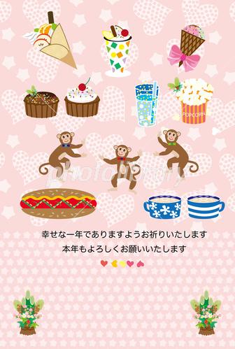 猿とスイーツのイラストのピンクの可愛い年賀状 イラスト素材 3817739