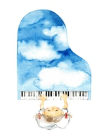 Sky blue piano girl [3828909] Piano