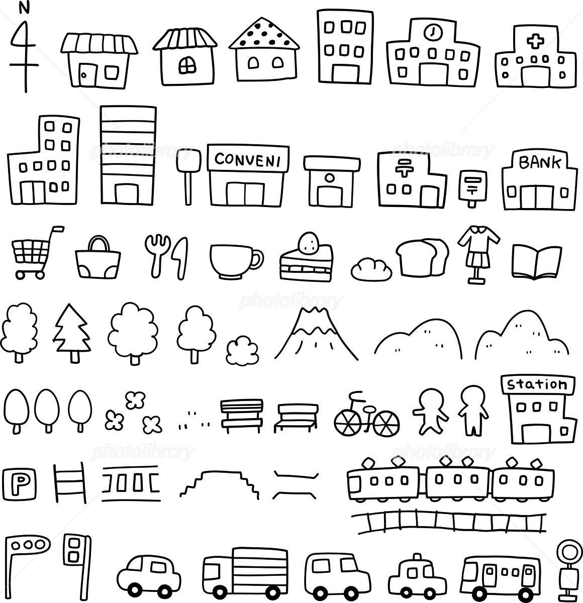 手描きの地図素材 イラスト素材 [ 3932528 ] , フォトライブ
