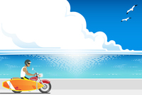 It is loaded with surfboards in motorcycle run along the coast surfer [3923998] Surfer