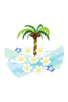 Green Sea Turtle and frangipani flowers and palm of summer greeting of wood [3932562] Summer