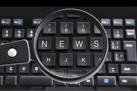 NEWS the keyboard and loupe Written Stock photo [4099505] the