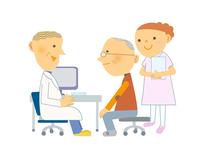 Senior men receive medical attention Hospital