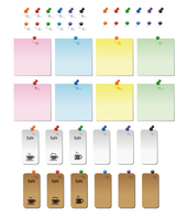 Sticky Notes card colorful pushpins illustration material [4160845] Thumbtack