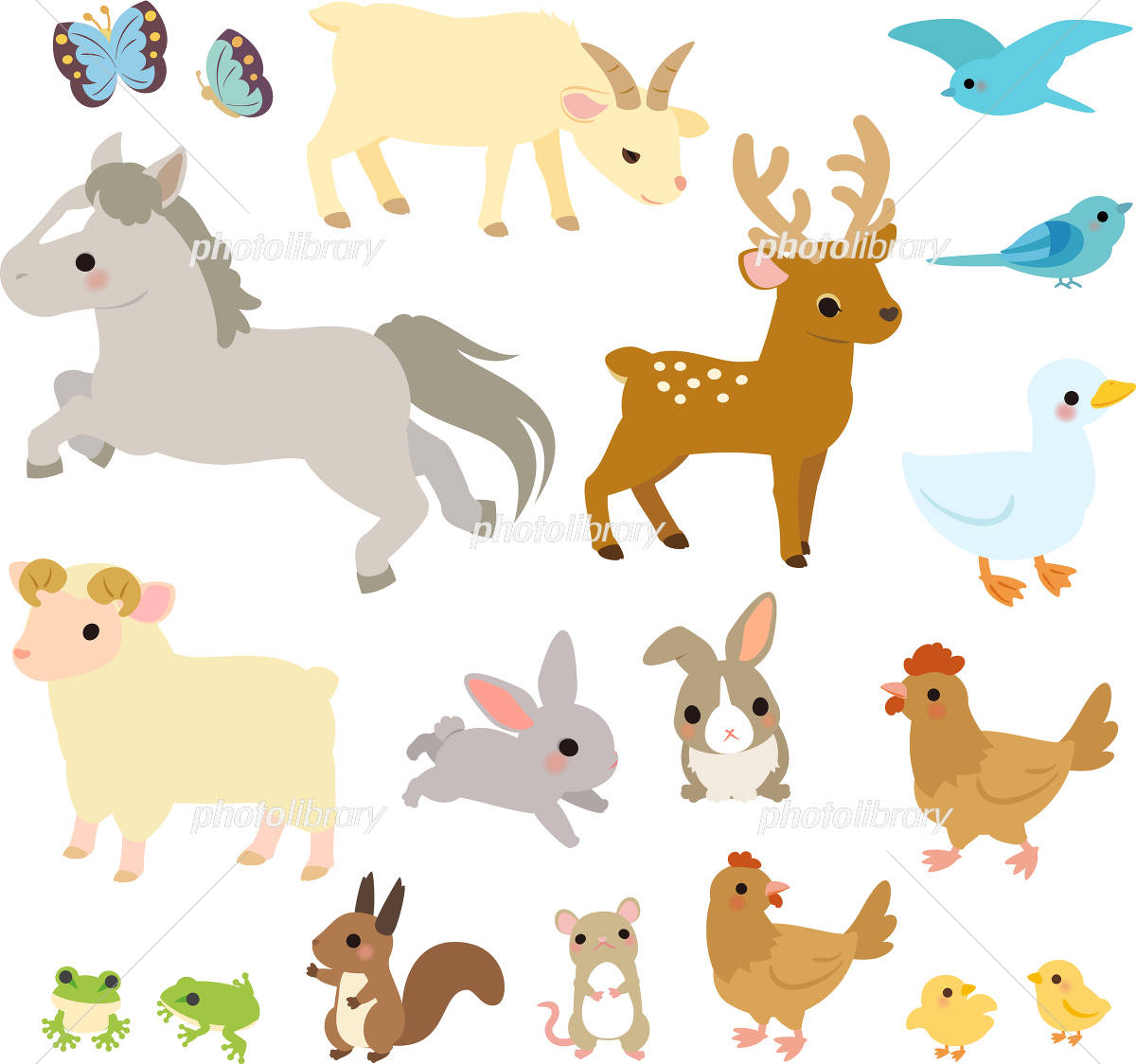 森や草原の動物たちのイラストセット イラスト素材 4337520 フォト