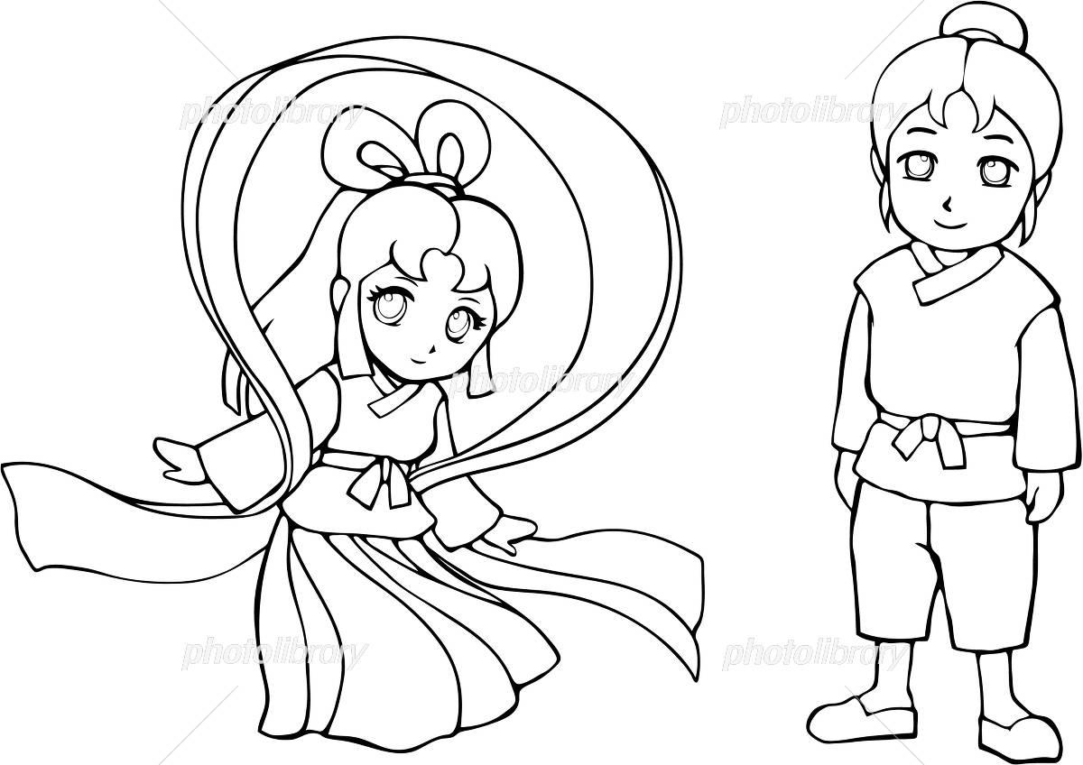 七夕 織姫と彦星 塗り絵 イラスト素材 4406662 フォト