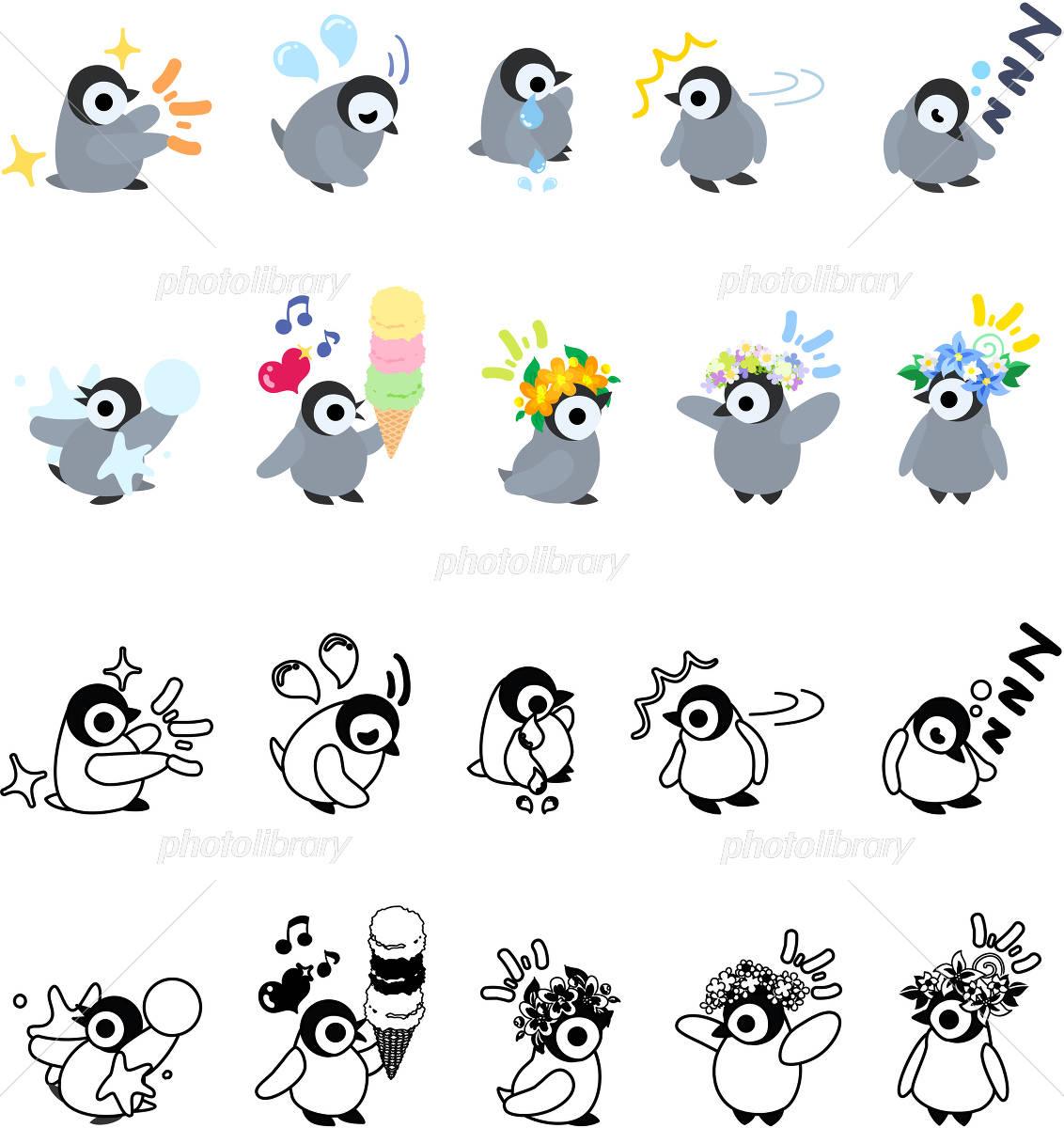 可愛い赤ちゃんペンギンのアイコン イラスト素材 4407487 フォト